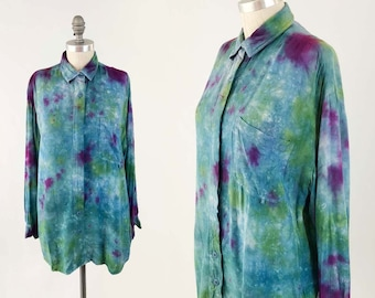 632635bc727be Vintage Oversized Tie Dye Shirt - 80s 90s Blue Indie Artist Festival Long  Sleeve Top Blouse - Unisex Rayon Shirt- Size Small to Large OSFA