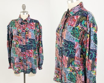 f6ac1e731b23c Vintage Silk Button Up Shirt - 80s 90s Abstract Graphic Long Sleeve Blouse  by Coreen - Oversized Top - Size Small to Medium to Large