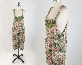 9d17ed5e15d2 Vintage 90s Floral OVERALLS - Soft Printed Rayon Festival Grunge Jumpsuit  Onesie - Baggy Cropped Overalls - Size Small