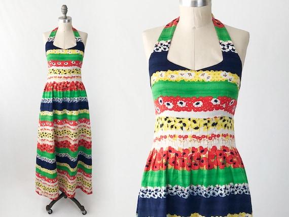 Vintage 70s Halter Maxi Dress - Tori Richard Cottt
