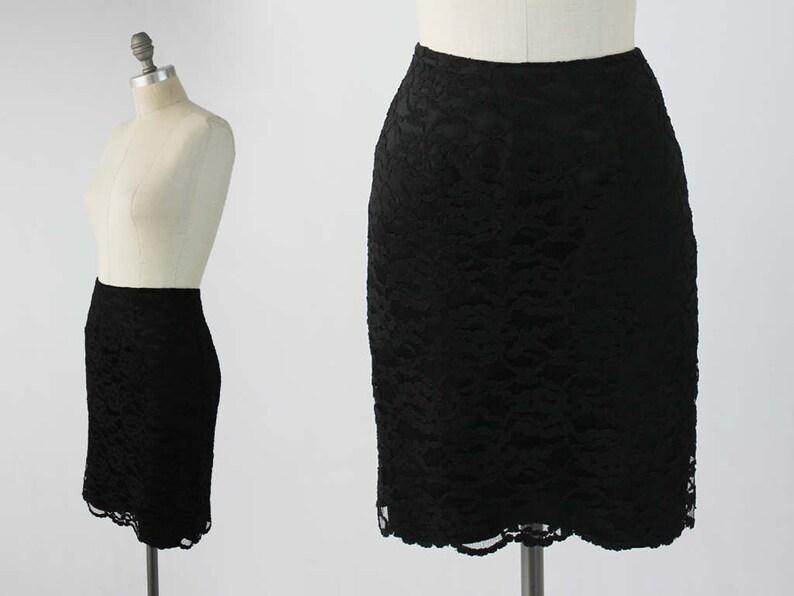 61226ebdff ON SALE Vintage 80s Lace Pencil Skirt Body Con Black Party   Etsy