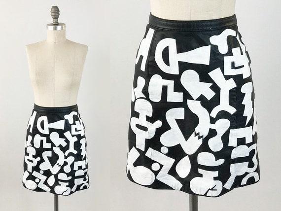 54e7faf4c Vintage Painted Leather Mini Skirt 80s High Waisted Black   Etsy