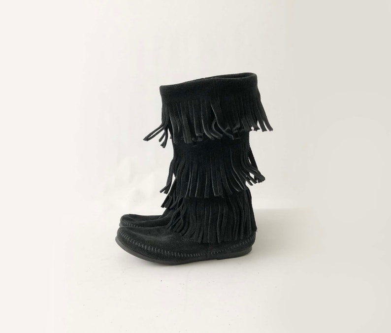 fd4dad5bcdb7d Vintage Minnetonka Moccasin Fringe Boots - Tall Black Suede Festival Boots  - Native American Indian Leather Boho Hippie Shoes - Size 7 M