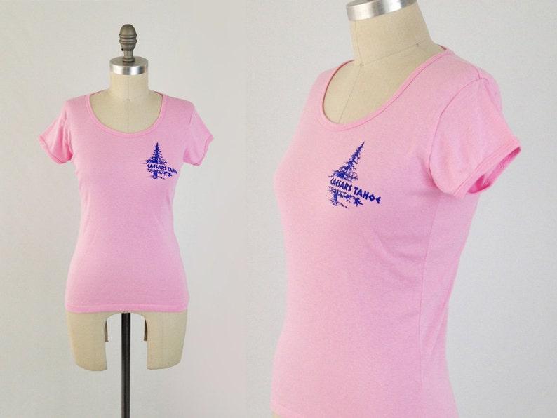 8ef674f18f568 Vintage 80s Tahoe T Shirt Womens Pink Screen Print Tshirt | Etsy