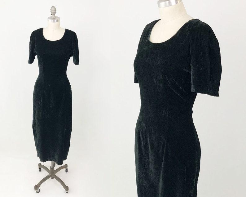 69771af9cb6e Vintage 90s Crushed Velvet Dress Short Sleeve Forest Green Crew Neck ...