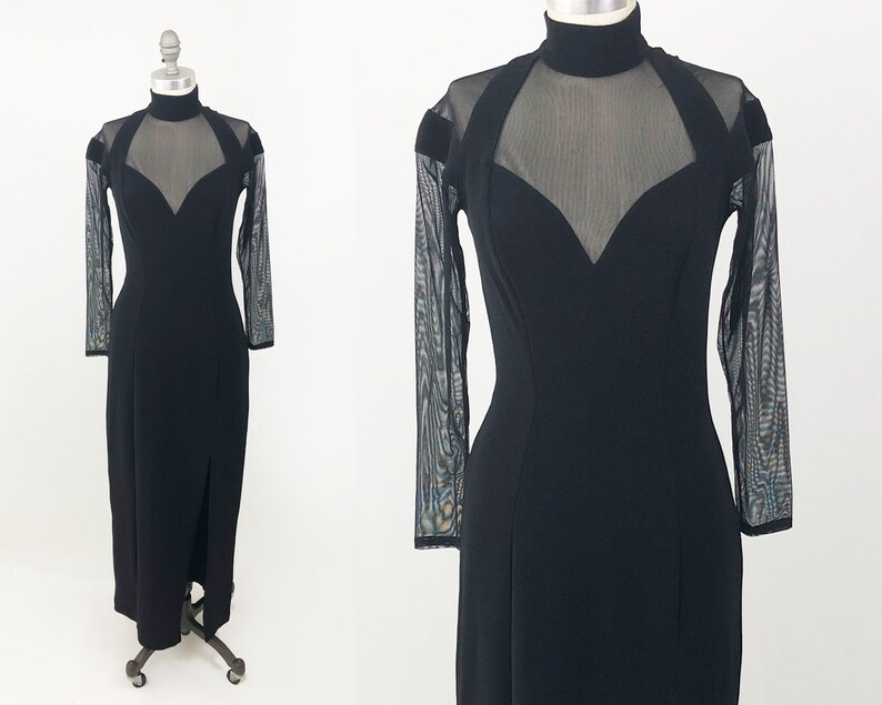 7042c1f66c5 Vintage Tadashi Shoji Mesh Dress 80s Designer Black Cocktail