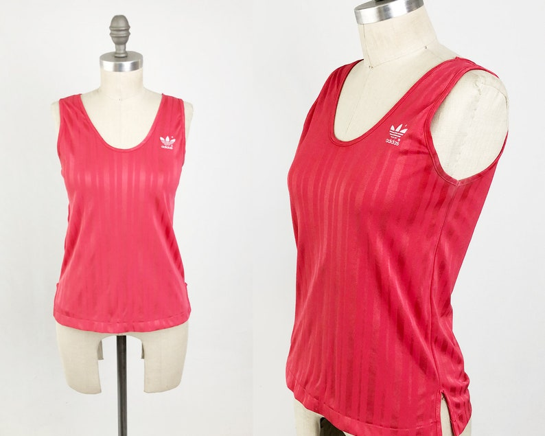 dee619fce3 Vintage 80s ADIDAS Tank Top- Sleeveless Red 3 Stripe Trefoil Jersey T Shirt  Made in USA - Activewear Track Top Size Small to Medium S M