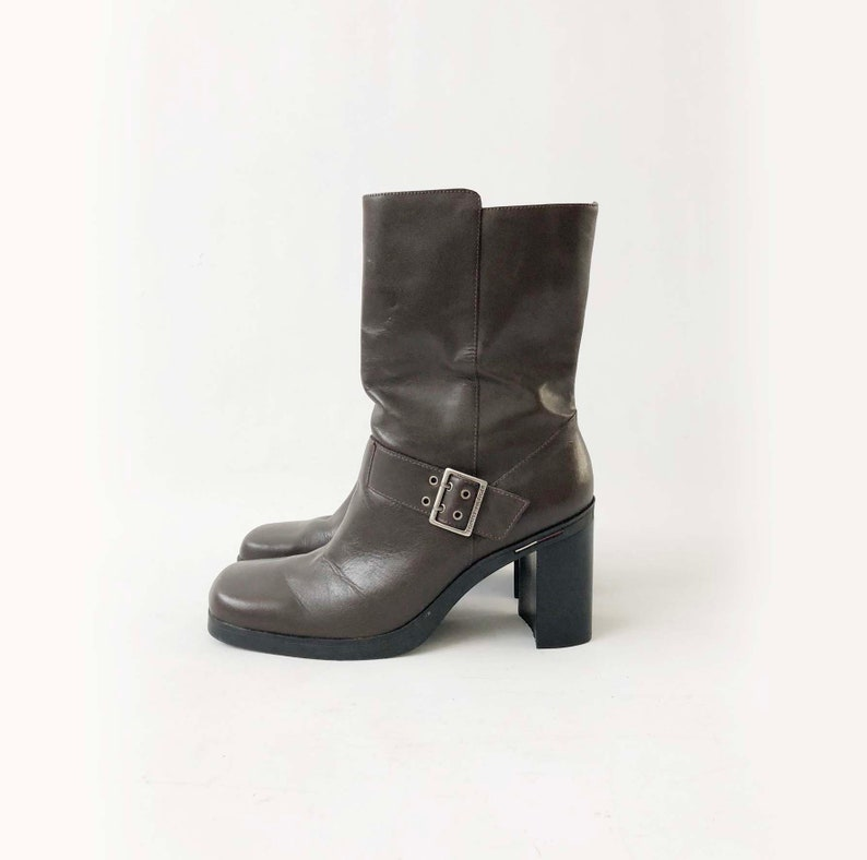 f2188dd5f71 Vintage 90s TOMMY HILFIGER Boots - Chocolate Brown Leather Square Toe Block  Heel Boots - 90s Chunky Heel Mid Calf Bootie - Size 9 M