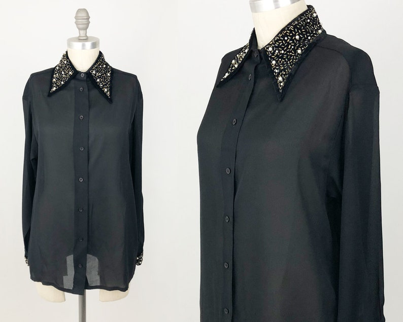 405d38f39997e Vintage 90s Button Up Shirt Long Sleeve Sexy See Through