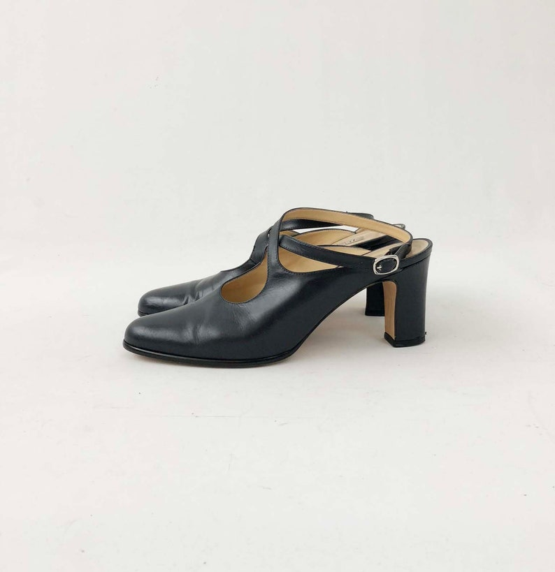 6a7ab63d1d48b Vintage 80s 90s Bandolino Mules - Designer Leather Glove Shoe Pumps w/ Open  Back & Ankle Strap - Made in Italy Shoes - Size 9 M