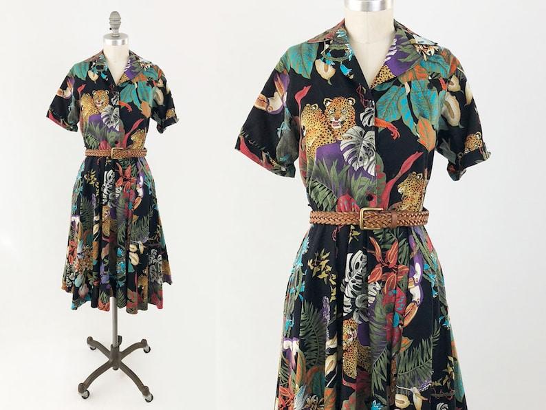 d471863bfc7 Vintage 80s Rainforest Animal Dress Cute Short Sleeve Cotton