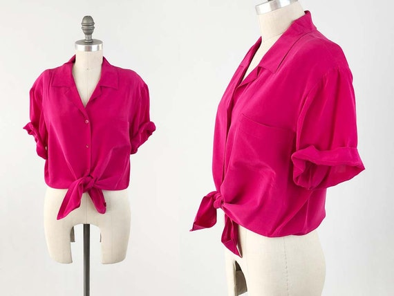 24bc5d0700165 Vintage Pink Boxy Silk Blouse 80s 90s Short Sleeve Button Up