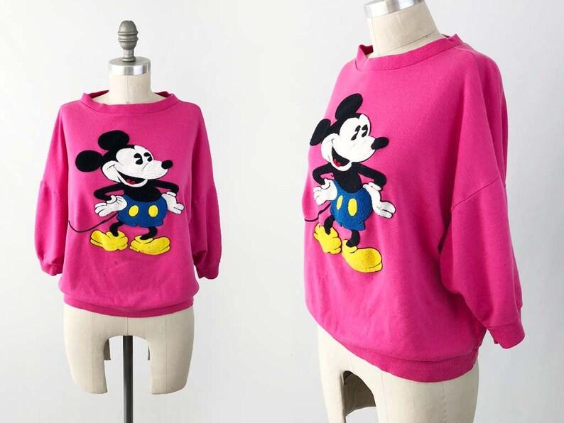 1ce39d6f15c201 Vintage 80s Mickey Mouse TShirt Pink Crop Top Walt Disney