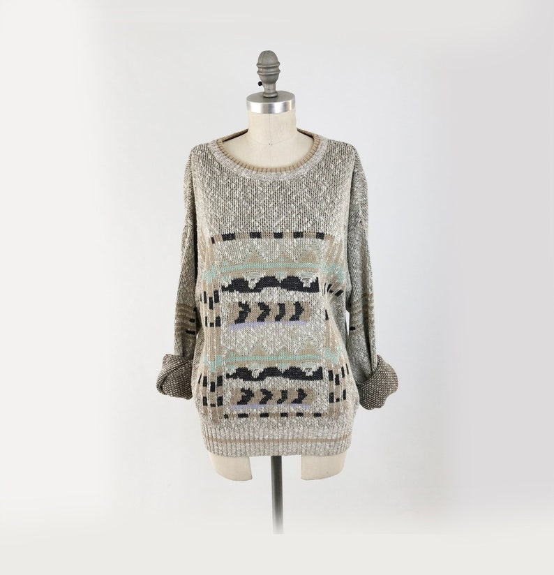 cd015884e57 Vintage 80s Oversized Slouchy Sweater 90s Soft Cotton Comfy