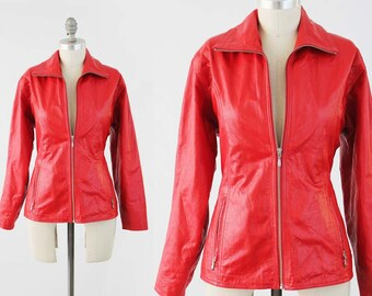 Vintage Red Leather Moto Jacket - 90s Fitted Zip Up Leather Punk Rocker Biker Jacket by Wilsons Maxima - Womens Size Medium to Large
