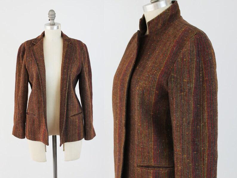 e1768130f464f ON SALE Vintage Rainbow Tweed Blazer Jacket 70s 80s Chic   Etsy