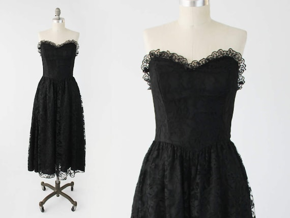 On Sale Vintage Strapless Lace Prom Dress 80s Black Sweetheart Neckline Formal Party Gown Fit And Flare A Line Dress Goth Small To Xs