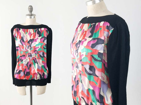 Vintage Abstract Silk Pullover Top - 80s 90s Color