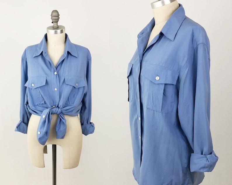 d9addf29a0ba3 Vintage 90s Silk Blouse Shirt - Button Up Top by Jones New York Sport -  Neutral ... Vintage 90s Silk Blouse Shirt - Button Up Top by Jones New York  Sport ...