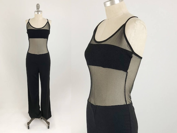 94a466798db2 Vintage 90s See Through Jumpsuit Black Mesh Spaghetti Strap