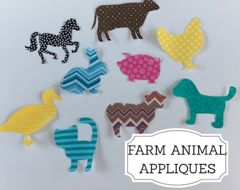 Farm Animals Iron on Applique Set