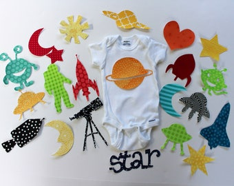 Outer Space Iron on Applique Collection for Baby Shower Craft or Space Quilt