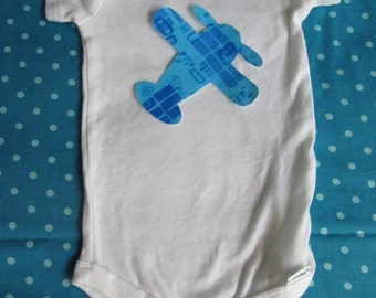 Airplane iron on applique - for baby bodysuit or kids tee, home decor, baby shower decorating station