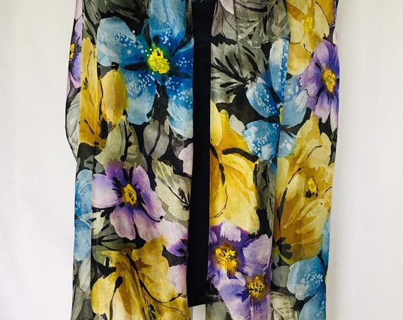 Handpainted Silk Floral Wrap, Scarf, In Greys, Blue, Gold, Lavender and Black