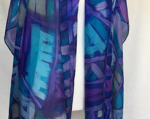Handpainted Silk Fringe Wrap with Abstract Geometric Design in Blues, Lavenders and Turqs