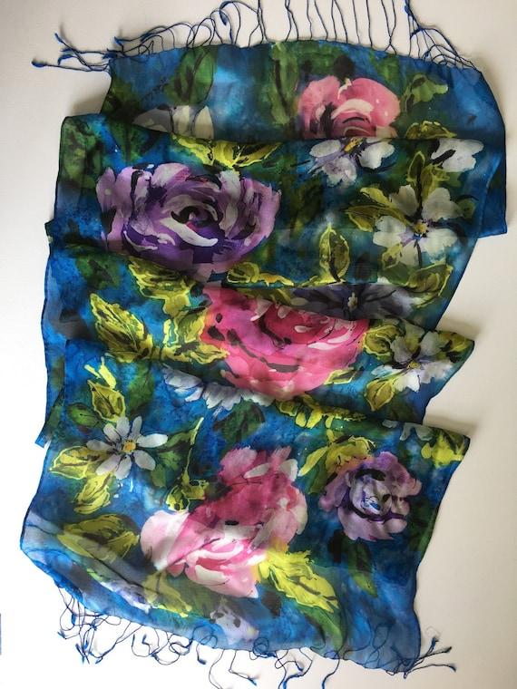 Hand  Painted  Silk Mesh Wrap Scarf Brushy Multicolor Floral Batik Technique