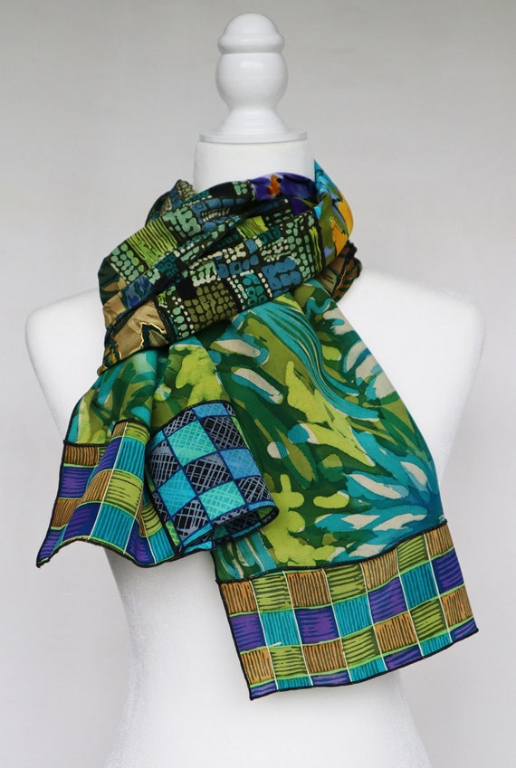"""Hand Painted Silk Collage Oblong Scarf in Greens and Blues 14""""x68"""""""