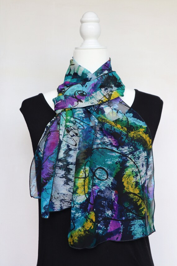 Hand painted Silk Georgette Oblong Scarf 12 inches x 70 inches