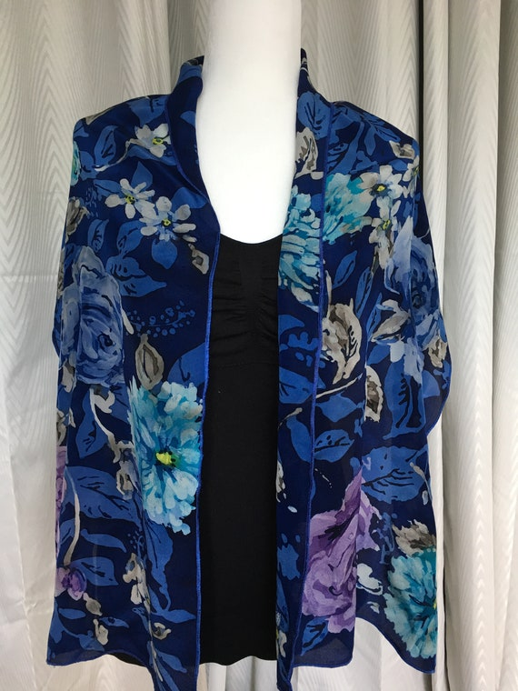 Oblong Hand Painted Silk Crepe Batik Floral in Blues, Purple, Turquoise  and Grey.