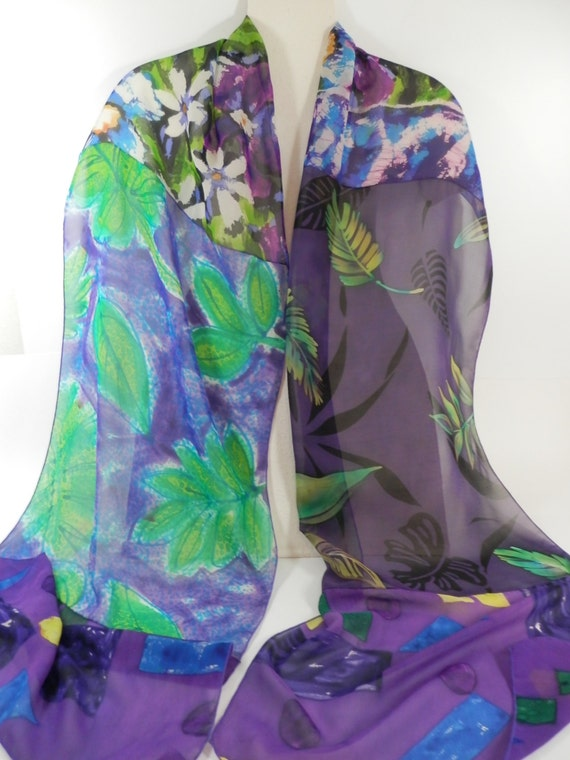 """Chiffon Scarf, Hand Painted Oblong Collage Silk 90"""" x 14"""" in Violet, Purple, Green, Black and White"""