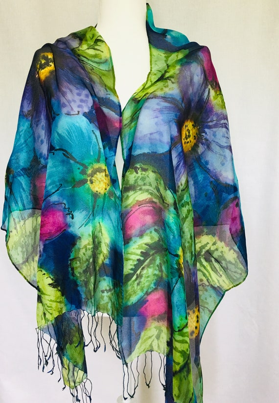 Mesh Silk Wrap Hand Painted in Blues, Purples, Turquoise, Greens,With Wine and Golden Yellow Accents