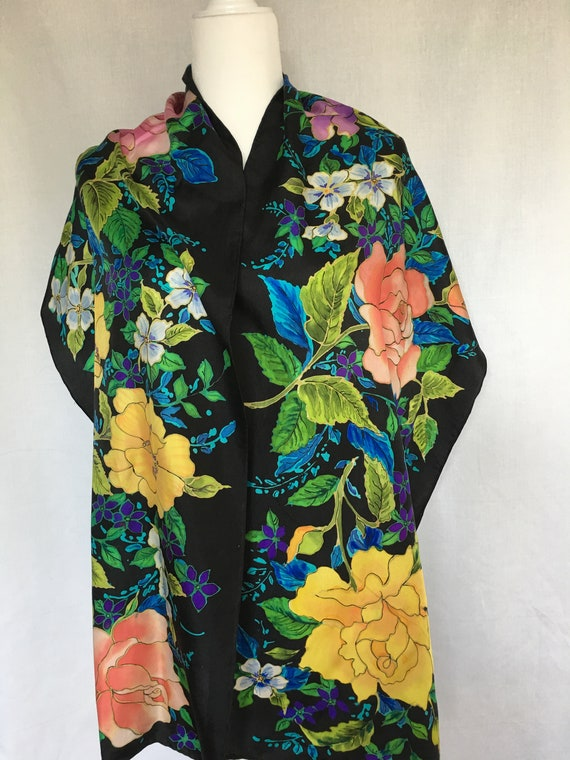 """Hand Painted 16"""" x 72"""" oblong silk twill oblong scarf multi color floral black background scarf"""