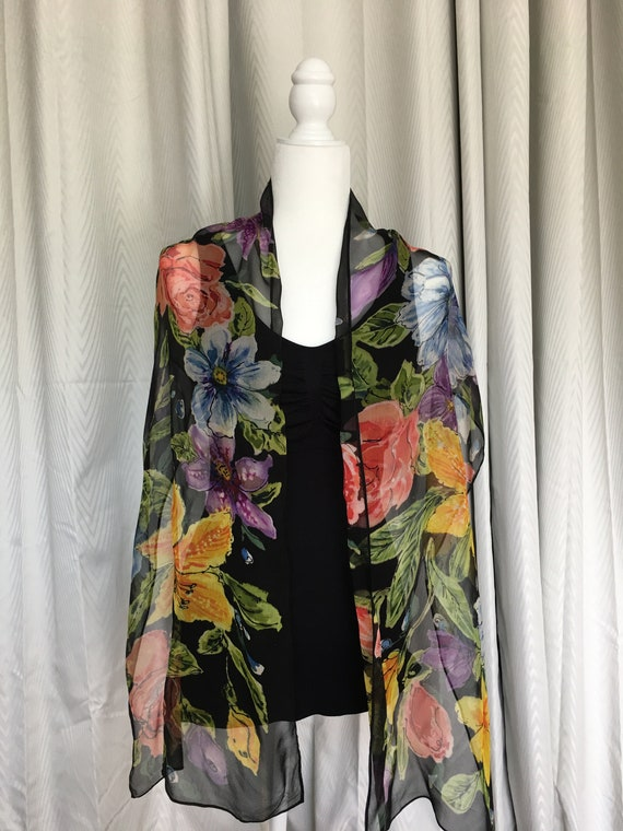 """Hand Painted Silk Chiffon Floral 15"""" x72"""" Black With Multicolor Oblong Rectangle Scarf"""