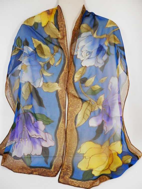 Silk Chiffon Hand Painted Long Floral Scarf in Blue and Camel