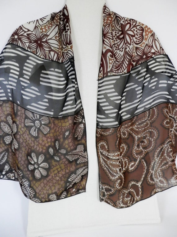 """Silk Chiffon Oblong Scarf Hand Painted 54"""" x 14"""" In Brown , Camel and Black and White"""