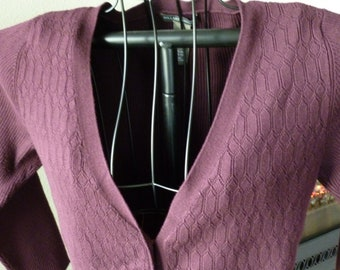 ab8a39e6c3 Women s Eggplant Purple Elbow Sleeve Cardigan Size M