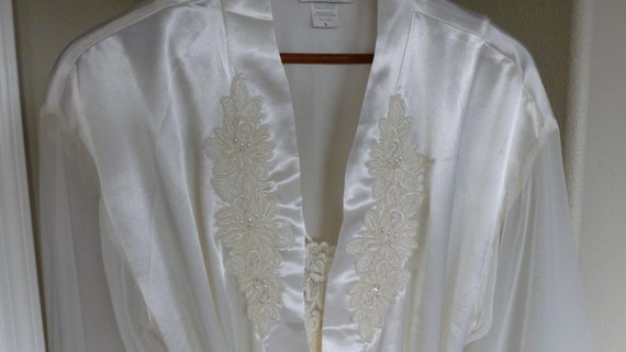 White Satin Lace Bridal Peignoir Nightgown and Rob