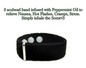 Anti Nausea Adjustable Pressure Point Band infused with Peppermint Oil, Migraine and Headache Relief (single)