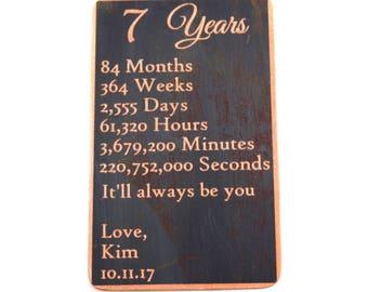 Love Countdown Wallet Copper Card - Personalized Engraved Metal - Gift Husband Boyfriend 7 Seven Year Anniversary, Wallet Insert, Keepsake
