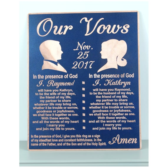 Vows Vow Renewal Gifts Vow Art Anniversary Gift Copper Etsy