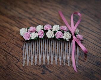 Floral Hair Comb - Light Pink & Ivory Rose