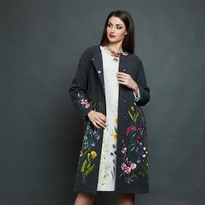 Gray coat, embroidered coat, long coats, wool coat, wool coat women, long wool coat, gray wool coat, grey coat midi coat wool embroider coat