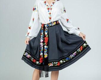9e2692c125 Black skirt in boho embroidered skirt pleated skirt full flared skirt women  flared skirt midi skirt outfit casual midi skirt midi skirts
