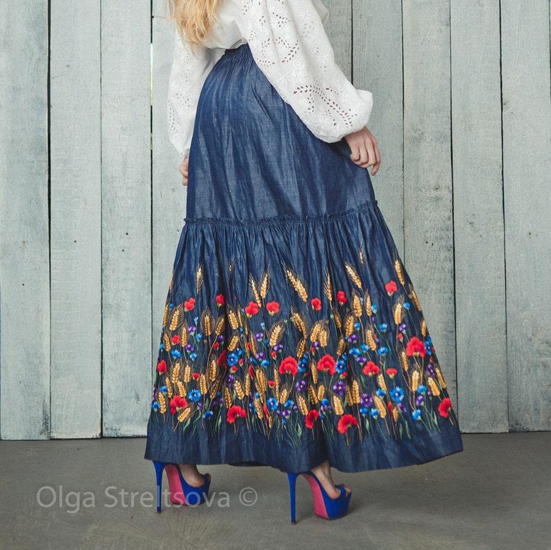 Embroidered skirt denim maxi skirt floor length maxi skirt gray skirt blue skirt in boho maxi pleated skirt blue boho skirt women skirt
