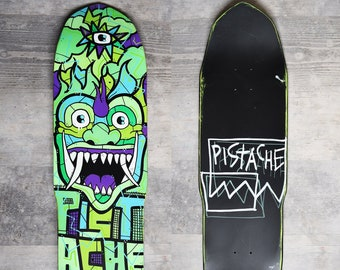 PISTACHE SKATE DECK (Hand Painted Lsd Demon Skateboard Art)
