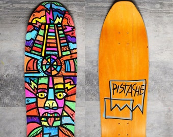 PISTACHE SKATE DECK (Hand Painted Mayan Temple Guardian Art)
